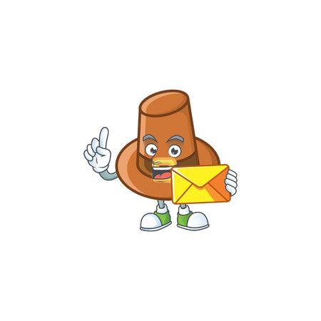 Cute brown pilgrim hat in bring envelope mascot. Vector illustration Ilustracja