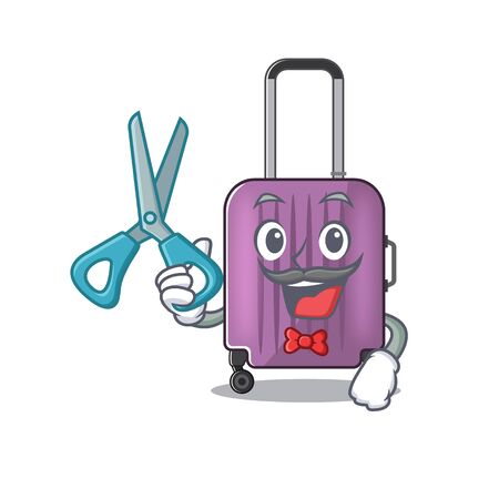 barber mascot cartoon style travel suitcase cute vector illustration