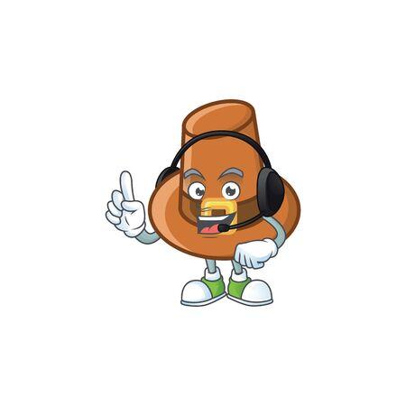 Brown pilgrim hat cartoon with mascot with headphone vector illustration 일러스트
