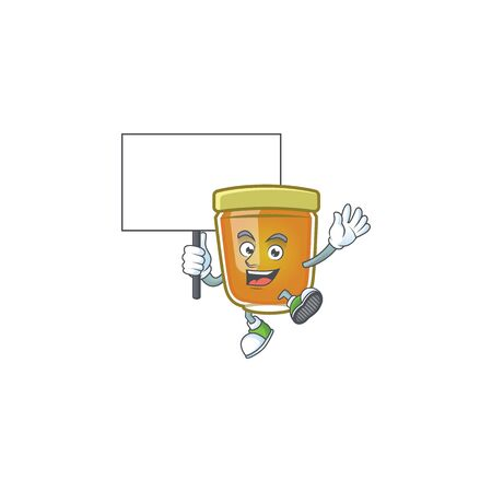 Honey in jar with bring board character shape. Vector illustration