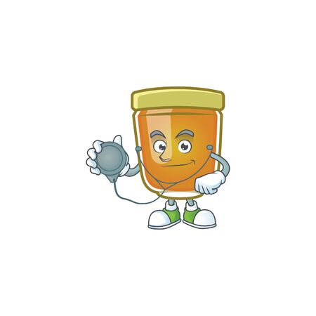 Honey in jar with doctor character shape. Vector illustration