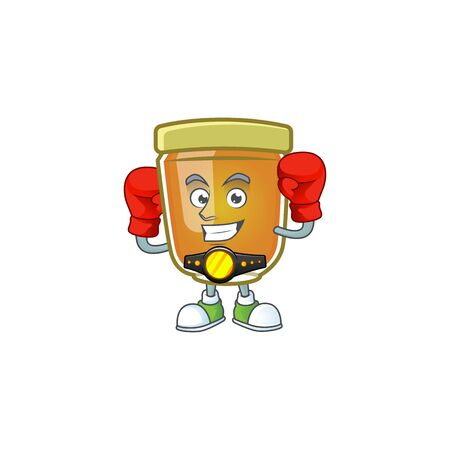 Honey in jar with boxing character shape. Vector illustration