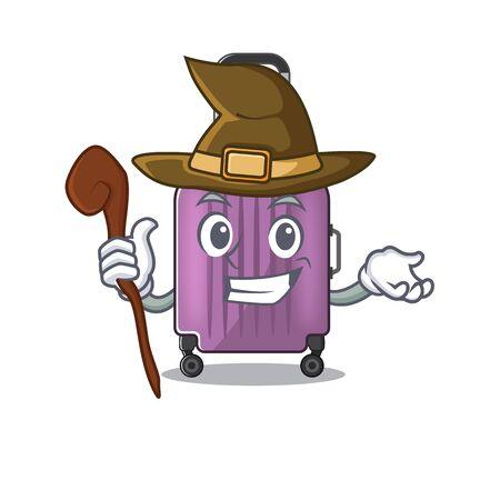 cute travel suitcase the witch mascot shape Ilustração