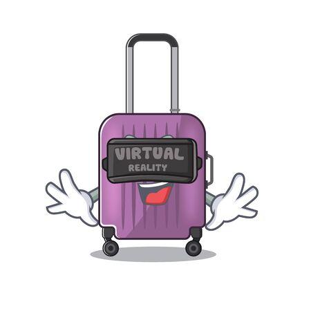 cute travel suitcase the virtual reality mascot shape