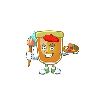 Honey in jar with painter character shape. Vector illustration