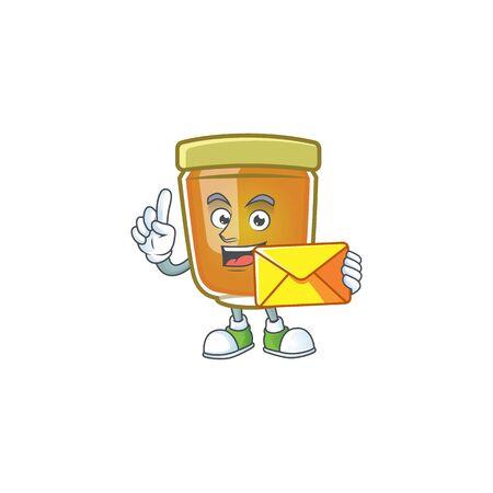 Honey in mascot bring envelope on white background vector illustration Ilustracja