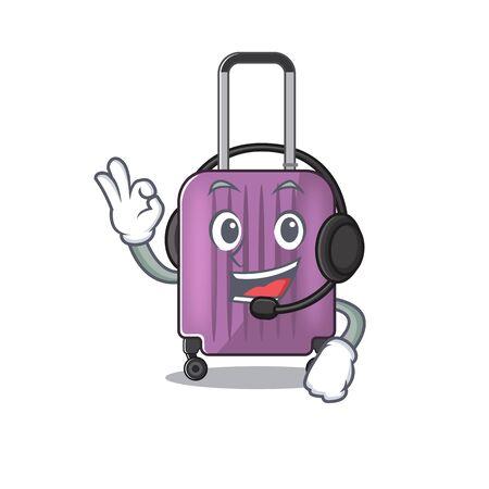 Illustration of cute travel suitcase cartoon character with headphone vector illustration 일러스트