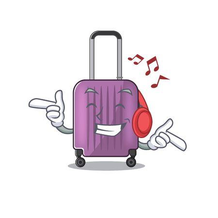 cute travel suitcase the listening music mascot shape vector illustration Ilustração