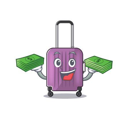 cute travel suitcase the holding money mascot shape vector illustration