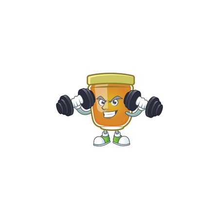 Honey in jar with bring barbell character shape. Vector illustration Ilustrace