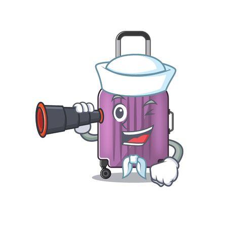 cute travel suitcase the sailor holding binocular mascot shape vector illustration Ilustração