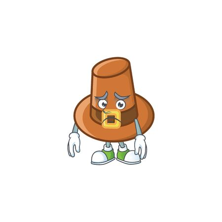 Object brown pilgrim hat with character afraid vector illustration