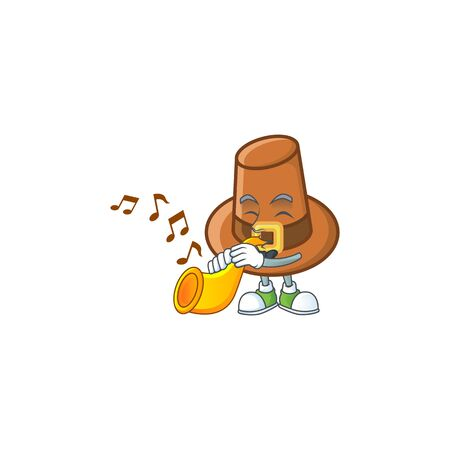 Object brown pilgrim hat with character with trumpet vector illustration