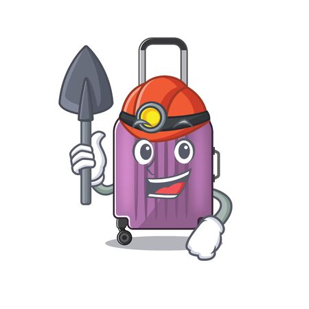 cute travel suitcase the miner mascot shape vector illustration