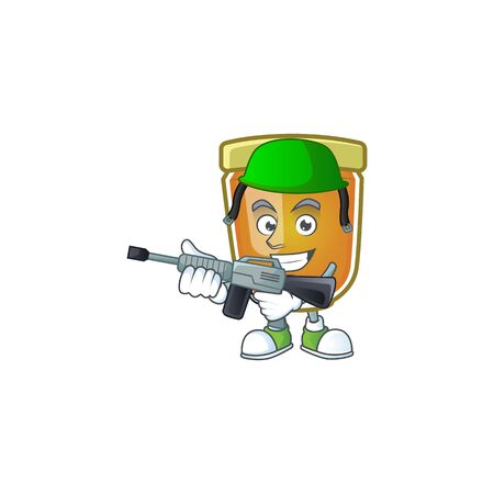 Honey in jar with army character shape. Vector illustration