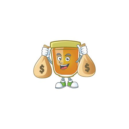 Honey in jar with holding money bag character shape. Vector illustration