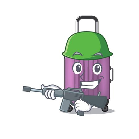 army mascot cartoon style travel suitcase cute