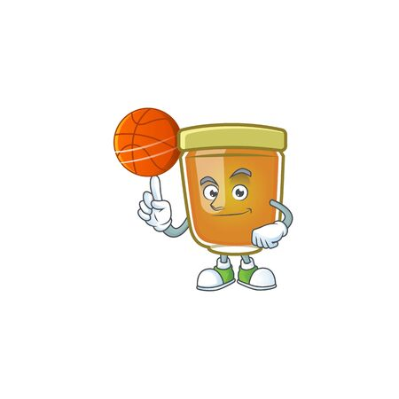 Honey in jar with holding basketball character shape. Vector illustration Ilustrace