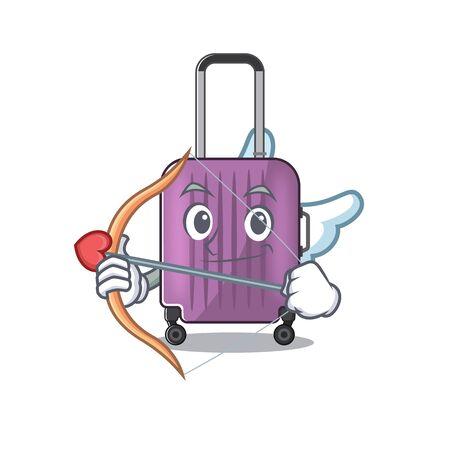 cupid mascot cartoon style travel suitcase cute