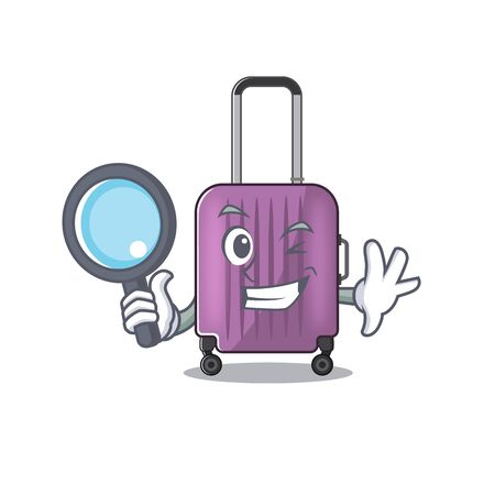 travel suitcase detective isolated with the cartoon