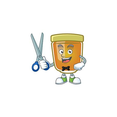 Honey in jar with barber character shape. Vector illustration Ilustrace