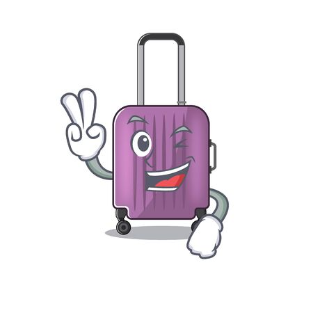 travel suitcase two finger isolated with the cartoon