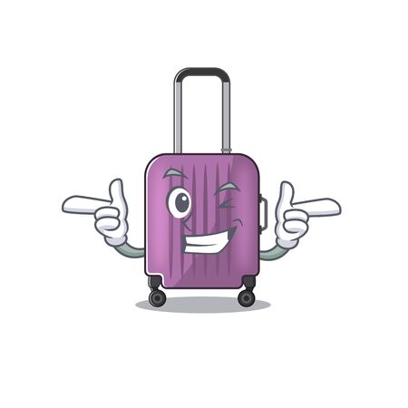 travel suitcase wink isolated with the cartoon