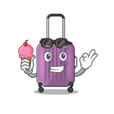 travel suitcase with ice cream isolated with the cartoon