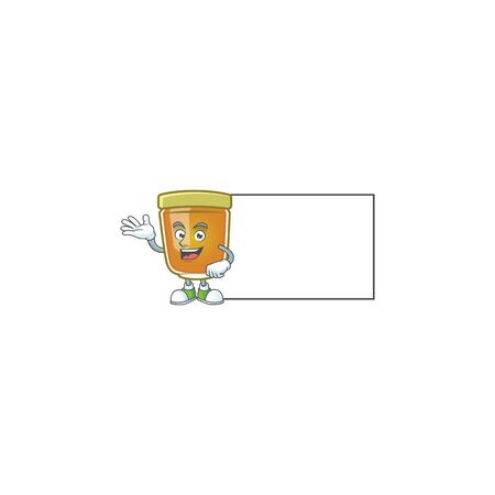 Honey in jar with board character shape. Vector illustration