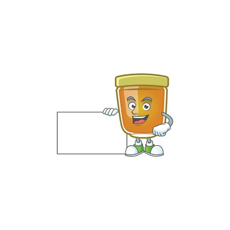 Honey in jar with grinning with board character shape. Vector illustration