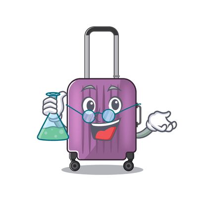 travel suitcase professor isolated with the cartoon
