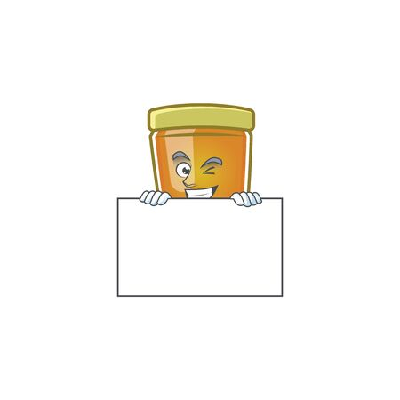 Honey in jar with squinting with board character shape. Vector illustration