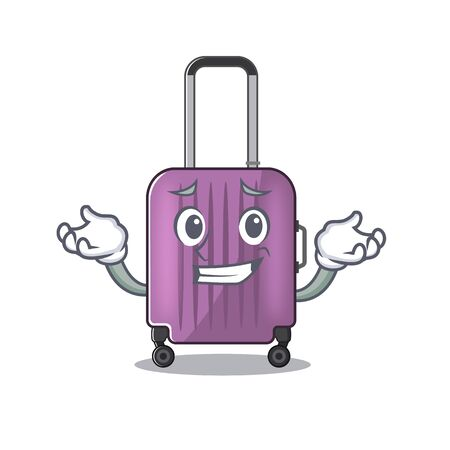 travel suitcase grinning isolated with the cartoon