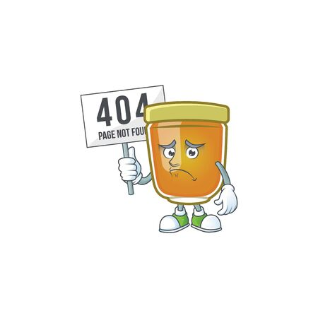 Honey in jar with pouting bring board character shape. Vector illustration