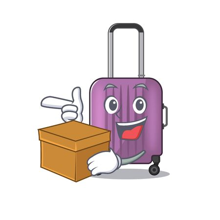 travel suitcase with bring box isolated with the cartoon