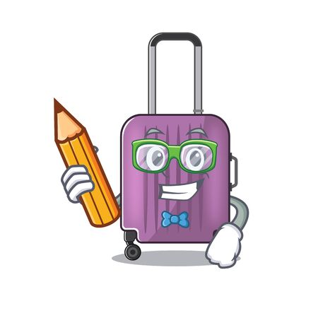 travel suitcase student holding pencil isolated with the cartoon Illusztráció
