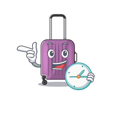 travel suitcase with bring clock isolated with the cartoon