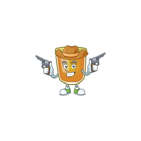 Honey in jar with cowboy character shape. Vector illustration