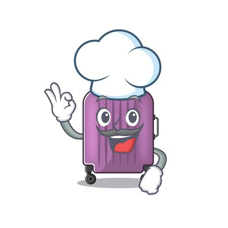 travel suitcase chef isolated with the cartoon