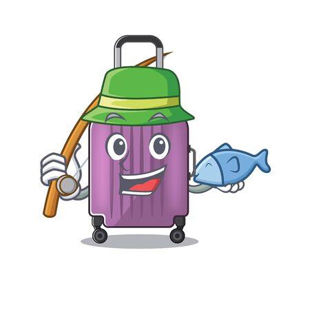 cute travel suitcase the fishing mascot shape Ilustração
