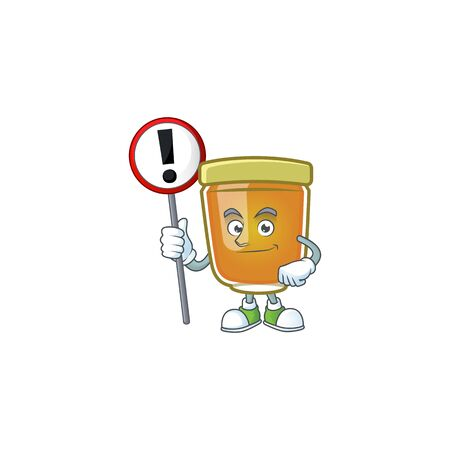 Honey in jar with sign warning character shape. Vector illustration Ilustrace