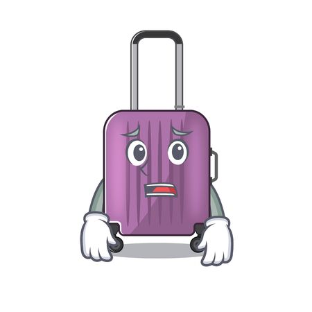 cute travel suitcase the afraid mascot shape