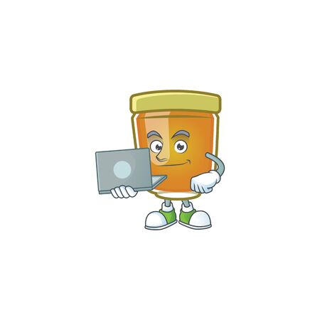 Honey in jar with bring laptop character shape. Vector illustration Ilustrace
