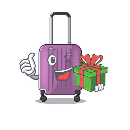 cute travel suitcase the holding gift mascot shape