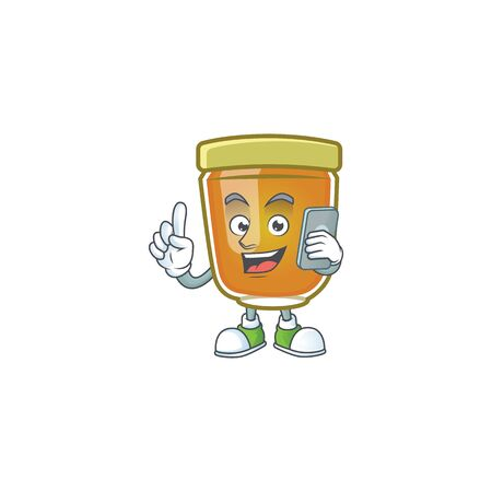 Honey in jar with holding phone character shape. Vector illustration