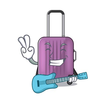 cute travel suitcase the with guitar mascot shape
