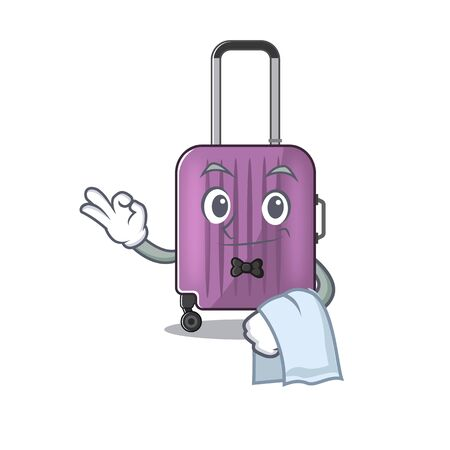 cute travel suitcase the waiter mascot shape