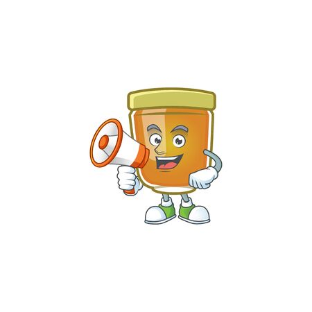 Honey in jar with holding megaphone character shape. Vector illustration