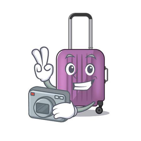 cute travel suitcase the photographer mascot shape
