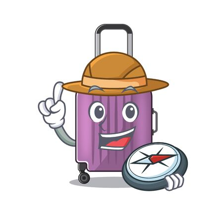 cute travel suitcase the holding compass mascot shape Ilustração
